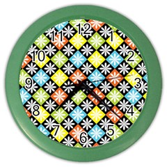 Diamond Argyle Pattern Flower Color Wall Clocks by Jojostore