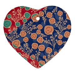 Floral Red Blue Flower Ornament (heart)  by Jojostore