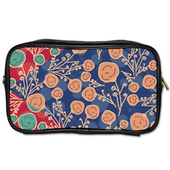 Floral Red Blue Flower Toiletries Bags 2 Side