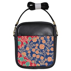Floral Red Blue Flower Girls Sling Bags