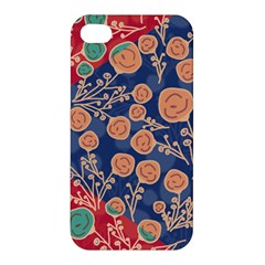 Floral Red Blue Flower Apple Iphone 4/4s Hardshell Case by Jojostore