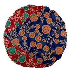 Floral Red Blue Flower Large 18  Premium Flano Round Cushions