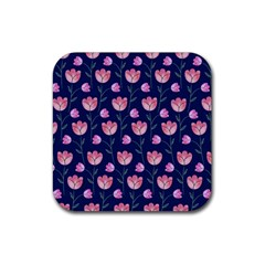 Flower Tulip Floral Pink Blue Rubber Square Coaster (4 Pack)  by Jojostore