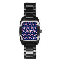 Flower Tulip Floral Pink Blue Stainless Steel Barrel Watch