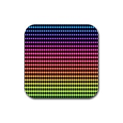 Halftone Pattern Rainbow Rubber Square Coaster (4 Pack)