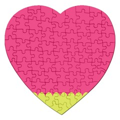 Pink Yellow Jigsaw Puzzle (heart) by Jojostore