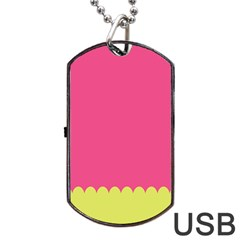 Pink Yellow Dog Tag Usb Flash (two Sides)