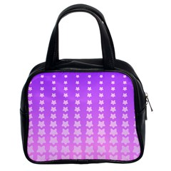 Purple And Pink Stars Line Classic Handbags (2 Sides)