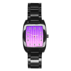 Purple And Pink Stars Line Stainless Steel Barrel Watch