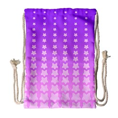 Purple And Pink Stars Line Drawstring Bag (large) by Jojostore