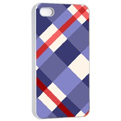 Red And Purple Plaid Apple Iphone 4/4s Seamless Case (white) by Jojostore