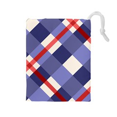 Red And Purple Plaid Drawstring Pouches (large)