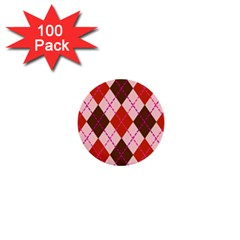 Texture Background Argyle Brown 1  Mini Buttons (100 Pack)  by Jojostore