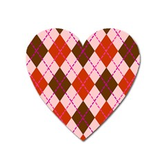 Texture Background Argyle Brown Heart Magnet by Jojostore