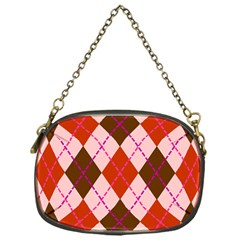 Texture Background Argyle Brown Chain Purses (one Side)  by Jojostore