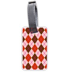 Texture Background Argyle Brown Luggage Tags (two Sides) by Jojostore