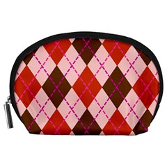 Texture Background Argyle Brown Accessory Pouches (large)  by Jojostore