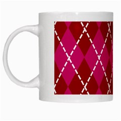 Texture Background Argyle Pink Red White Mugs by Jojostore