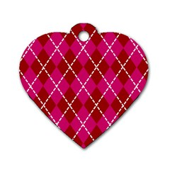 Texture Background Argyle Pink Red Dog Tag Heart (two Sides) by Jojostore