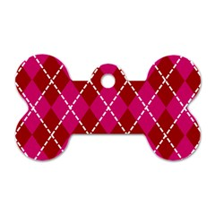 Texture Background Argyle Pink Red Dog Tag Bone (two Sides)