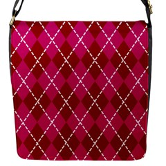 Texture Background Argyle Pink Red Flap Messenger Bag (s) by Jojostore