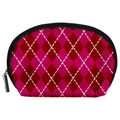 Texture Background Argyle Pink Red Accessory Pouches (large)  by Jojostore