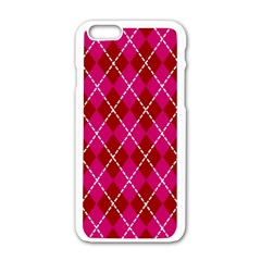 Texture Background Argyle Pink Red Apple Iphone 6/6s White Enamel Case by Jojostore