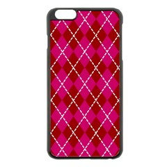 Texture Background Argyle Pink Red Apple Iphone 6 Plus/6s Plus Black Enamel Case by Jojostore