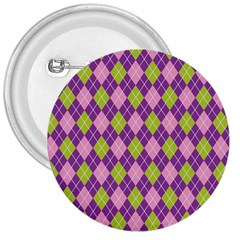 Purple Green Argyle Background 3  Buttons by Jojostore