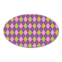 Purple Green Argyle Background Oval Magnet by Jojostore