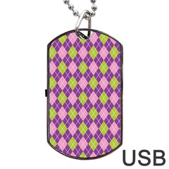 Purple Green Argyle Background Dog Tag Usb Flash (two Sides)  by Jojostore