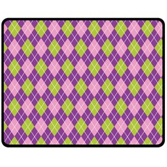 Purple Green Argyle Background Double Sided Fleece Blanket (medium)  by Jojostore