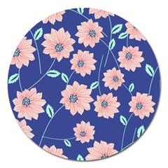 Seamless Blue Floral Magnet 5  (round) by Jojostore