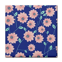 Seamless Blue Floral Face Towel by Jojostore