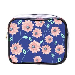 Seamless Blue Floral Mini Toiletries Bags