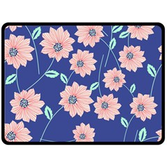 Seamless Blue Floral Double Sided Fleece Blanket (large)