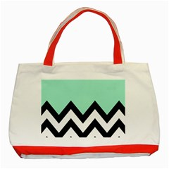 Mint Green Chevron Classic Tote Bag (red)