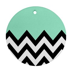 Mint Green Chevron Round Ornament (two Sides)  by Jojostore