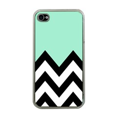 Mint Green Chevron Apple Iphone 4 Case (clear)