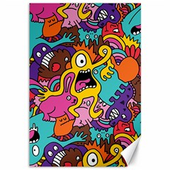 Monsters Pattern Canvas 12  X 18