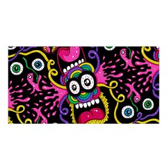 Monster Face Mask Patten Cartoons Satin Shawl by Jojostore