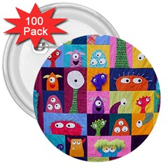 Monster Quilt 3  Buttons (100 Pack)  by Jojostore