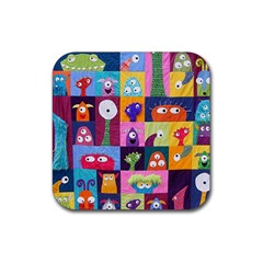 Monster Quilt Rubber Square Coaster (4 Pack)  by Jojostore