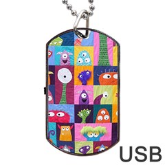 Monster Quilt Dog Tag Usb Flash (one Side) by Jojostore
