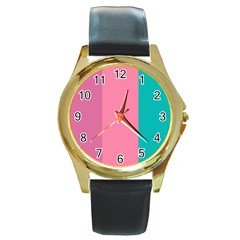 Pink Blue Three Color Round Gold Metal Watch by Jojostore