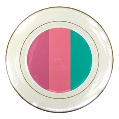 Pink Blue Three Color Porcelain Plates