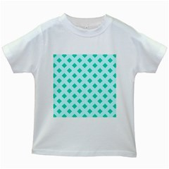 Plaid Blue Box Kids White T Shirts
