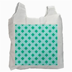 Plaid Blue Box Recycle Bag (two Side)  by Jojostore