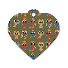 Owl Pattern Illustrator Dog Tag Heart (two Sides) by Jojostore