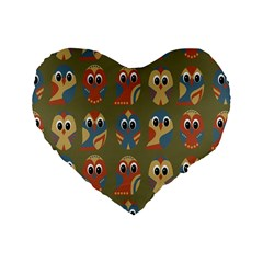 Owl Pattern Illustrator Standard 16  Premium Heart Shape Cushions by Jojostore
